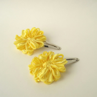 Yellow Ribbon Flower Hair Clips
