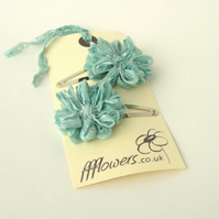 Seafoam Blue Flower Hair Clips
