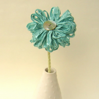 Seafoam Blue Handmade Ribbon Flower