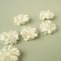 Ivory Ribbon Flower Appliques, set of 6