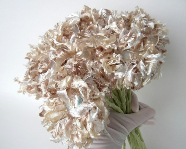 Wedding bouquet champagne fluffy flowers folksy