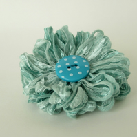 Flower Brooch in Seafoam Blue