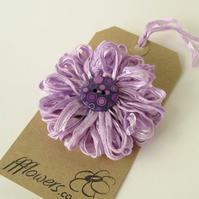 Lilac Ribbon Flower Brooch