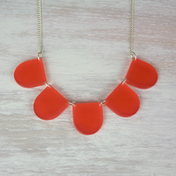 CLEARANCE Acrylic Ruche necklace in Poppy Red