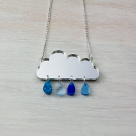 CLEARANCE 'Raincloud' Acrylic Necklace in Mirror