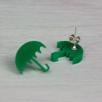 'Umbrella' Acrylic Earrings in Green