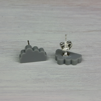 'Cloud' Acrylic Earrings in Grey