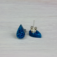 'Raindrop' Acrylic Earrings in Blue glitter