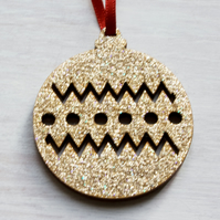 Gold Glitter wooden laser cut Bauble