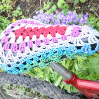 Crochet Bike Seat Cover Pattern, Yarnbomb. Written pattern with Crochet symbols