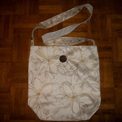 Shoulder Bag with  Embroidered Flowers on Cream Satin