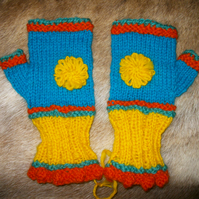 Handspun and Handknit Fingerless Gloves
