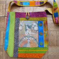 Crazy Patchwork Shoulder Bag with Hand Printed Ladies and Watches Panel.