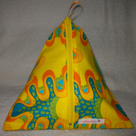 Pyramid Purse In Acid Yellow Print Cotton