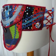 Festival Belt Purse Bum Bag in Crazy Patchwork with 3 Pockets and Waist Ties.