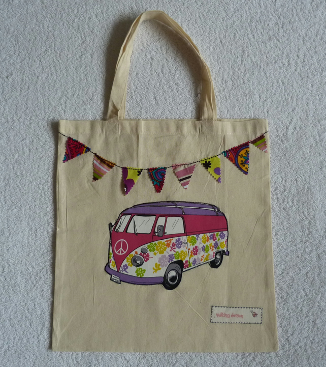 3d71ee3b0d58 Applique VW Camper Van and Bunting Cotton Canvas Tote Bag with Short Handles