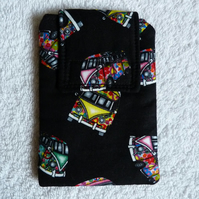 Mobile Phone Cover in Black VW Camper Print  Suitable for Medium Sized Phones
