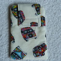Mobile Phone Cover in White VW Camper Print  Suitable for Medium Sized Phones