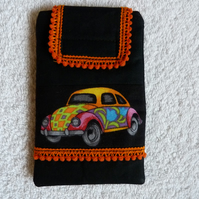 Mobile Phone Cover In Black VW Beetle Fabric . Suitable for larger sized Phones.