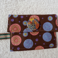 Coin Purse In Brown Pink and Blue Fabric with Zipped Purse and Card Wallet