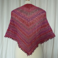 Hand Knit Pink Lace Triangular Scarf