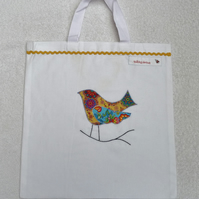 Applique Bird Cotton Canvas Bag with Short Handles