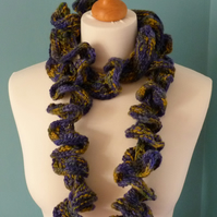 SALE! Hand Spun and Hand Knit Ruffle Scarf in Blue Yellow and Green