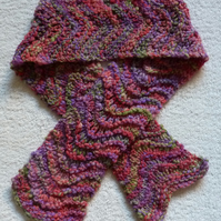 Hand Knit Merino Wool  Scarf in Pinks, Purples and Green