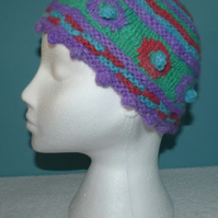 SALE ! Angora and Alpaca Handpun, Hand Dyed and Hand Knit Beanie Style Hat.