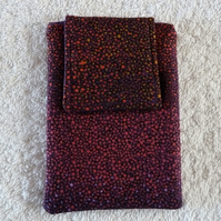 Mobile Phone Cover in Red and Gold Spot Cotton Suitable for Medium Sized Phones