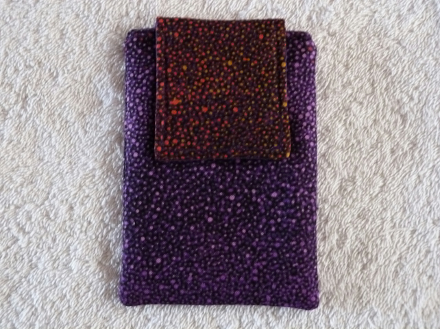 Mobile Phone Cover in Purple and Red Spot Cotton Suitable for Medium Sized Phone