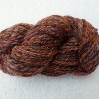 100g Hank of Hand Spun Art Yarn in Purples, Orange and Natural Fleece.