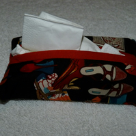 Travel Tissue Holder in Shoe Print Cotton Fabric