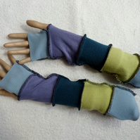 Upcycled Sweater Fingerless Gloves In  Blue and Green. Mixed Fibres