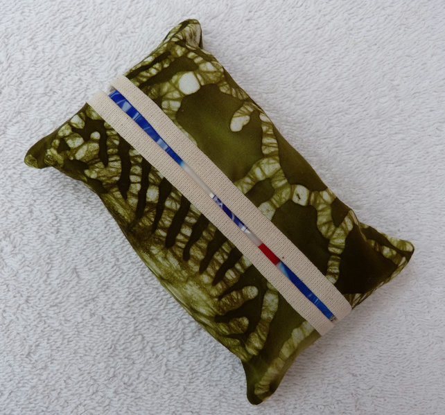 Travel Tissue Holder in Green and White Batik Print Cotton Fabric.