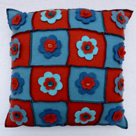 Upcycled Natural Fibre Cushion  with Felt Flowers and a  Button Back