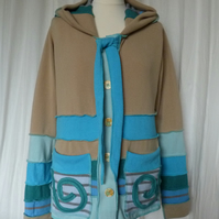 Upcycled Sweater Jacket with Buttons Hood Patch Pockets and Neck Ties. Beige