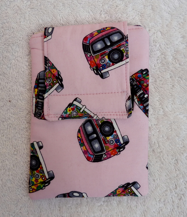 Mobile Phone Cover in Pink VW Camper Print  Suitable for Medium Sized Phones