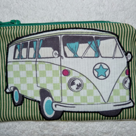 Green VW Camper Applique Purse.