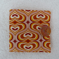 Sewing Needle Case In Orange Print Cotton
