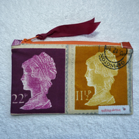 Small Zipped Purse in Prestigious Stamp Print Cotton.  Gold and Purple.