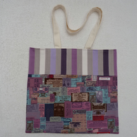 Label Print Purple Tote  Bag Suitable for Knitting Projects or Shopping