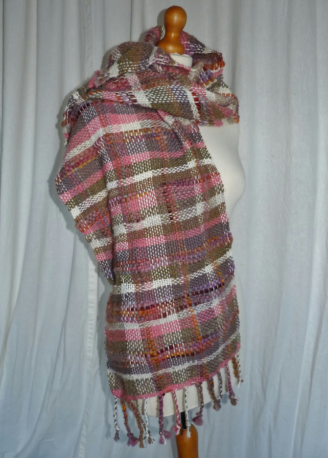 Large Hand Woven Scarf from Hand Spun Natural Fibers