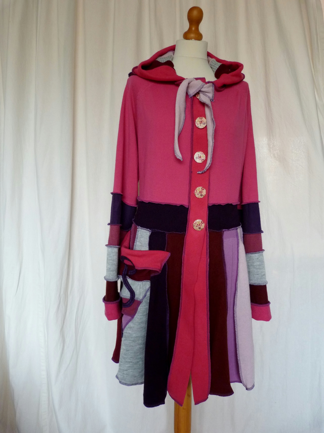 Upcycled Sweater Coat in Pink  Purple and Grey with Hood, Waist Ties and Pocket