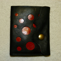 Leather Wallet with Inner Purse and Card Holder with Fabric Lining. Red  Circles