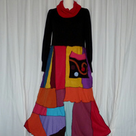 Upcycled Sweater Dress in a Rainbow of Colours. Refashioned from Jumpers.