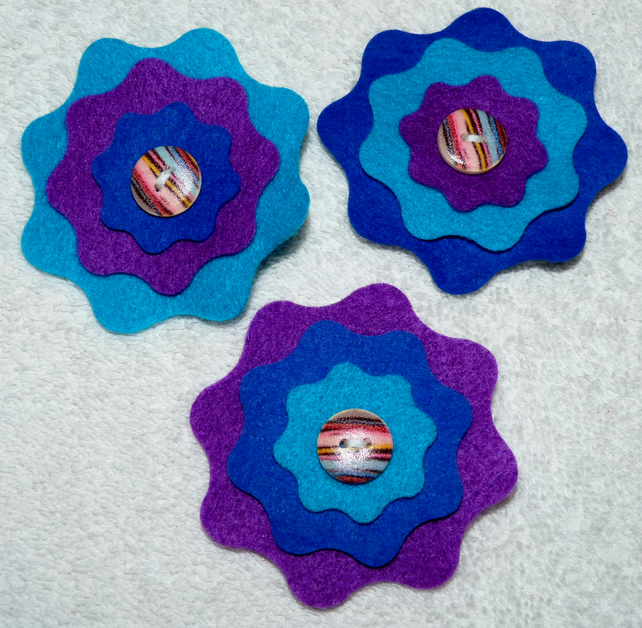 Felt Corsage in  Blue and Purple with Wooden Button