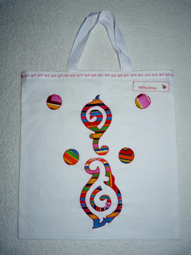 Applique Design Cotton  Bag with Short Handles