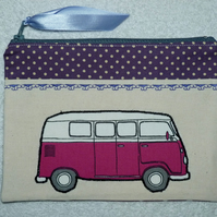 Pink VW Camper Applique Purse with Purple Polka Dot Trim. Fully Lined (R)