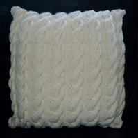 "Hand Knit 100% Pure Wool  16""  Aran Cushion Cover with Button Back"